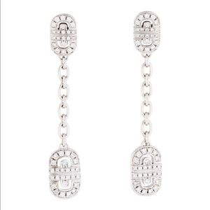 Bvlgari 18k white gold 1.15 CTW drop earrings .
